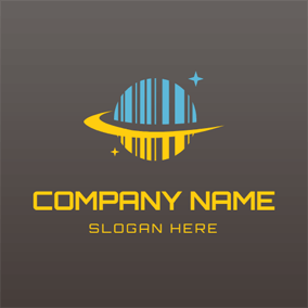 Yellow and Blue Barcode Planet and Star logo design