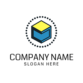 Yellow and Blue Cube Icon logo design