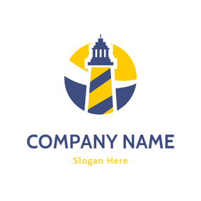 Yellow and Blue Lighthouse logo design
