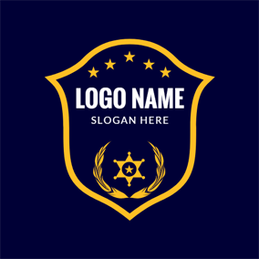 Yellow and Blue Police Badge logo design