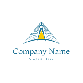 Yellow and Blue Simple Line Bridge logo design
