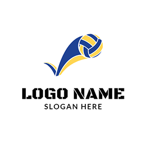 Yellow and Blue Volleyball Icon logo design