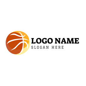 Yellow and Brown Basketball logo design