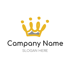 Yellow and Brown Crown logo design