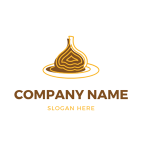 Yellow and Brown Garlic logo design