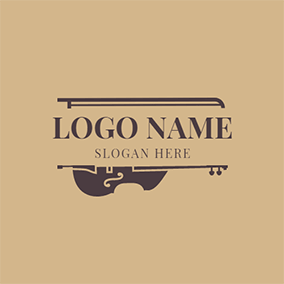 Yellow and Brown Half Cello logo design