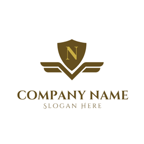 Yellow and Brown Letter N logo design