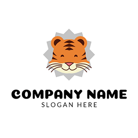 Yellow and Brown Tiger Head logo design