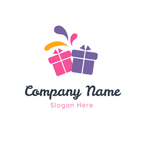 Yellow and Green Gift Box logo design