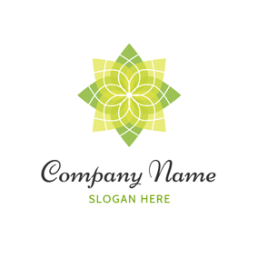 Yellow and Green Lotus logo design