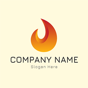 Yellow and Orange Fire Flame logo design