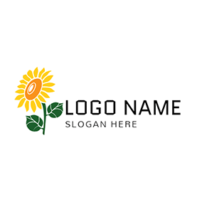 Yellow and Orange Sunflower Icon logo design