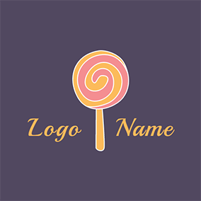 Yellow and Pink Lollipop logo design