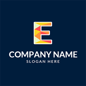 Yellow and Red Alphabet E logo design