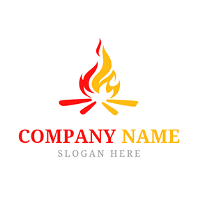 Yellow and Red Bonfire logo design