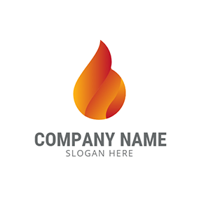 Yellow and Red Drop Fire logo design