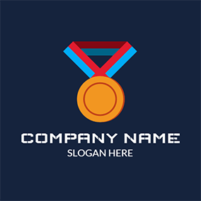 Yellow and Red Medal Icon logo design