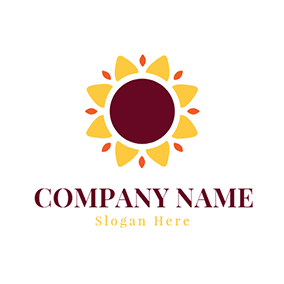 Yellow and Red Sunflower Icon logo design