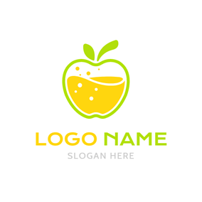 Yellow and White Apple Juice logo design