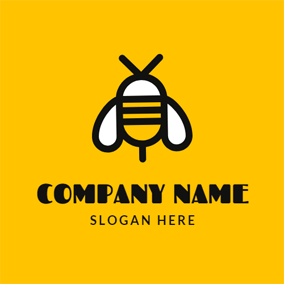 Yellow and White Bee logo design
