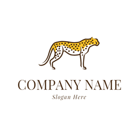 Yellow and White Cheetah logo design