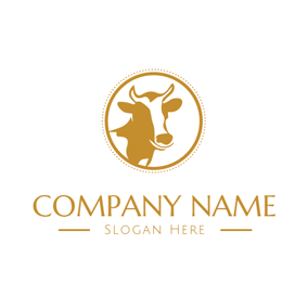 Yellow and White Cow Head logo design