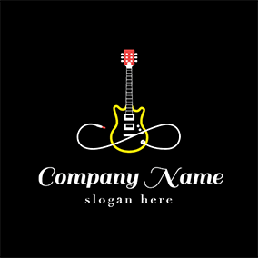 Yellow and White Electric Guitar logo design