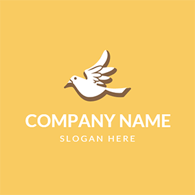 Yellow and White Flying Dove logo design