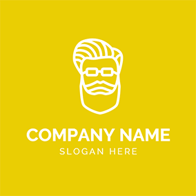 Yellow and White Hipster Head logo design
