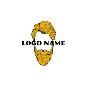 Yellow and White Hipster Man logo design