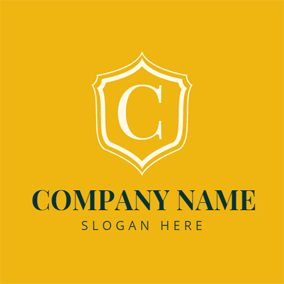 Yellow and White Letter C logo design