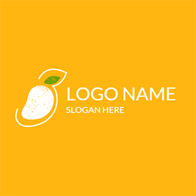 Yellow and White Mango logo design