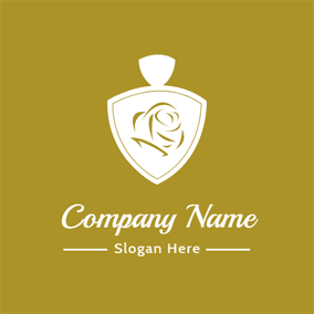 Yellow and White Perfume Bottle logo design