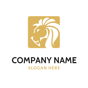 Yellow and White Square Horse logo design