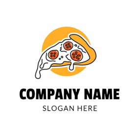 Yellow and White Tomato Pizza logo design