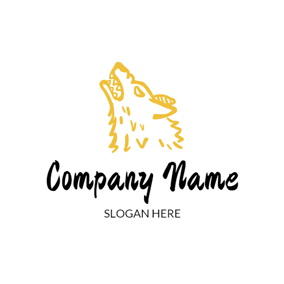 Yellow and White Wolf Head logo design