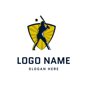 Yellow Badge and Baseball Player logo design