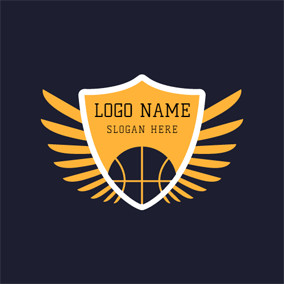 Yellow Badge and Black Basketball logo design