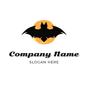 Yellow Badge and Black Bat logo design