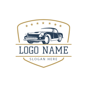 Yellow Badge and Blue Car logo design