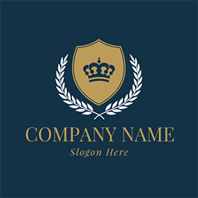 Yellow Badge and Blue Crown logo design