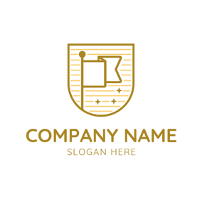 Yellow Badge and Brown Flag logo design