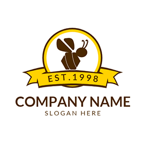 Yellow Badge and Chocolate Bee logo design