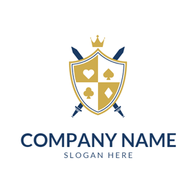 Yellow Badge and Cross Sword logo design