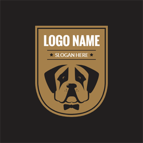 Yellow Badge and Dog Head logo design