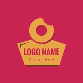 Yellow Badge and Doughnut logo design