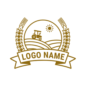 Yellow Badge and Farm logo design