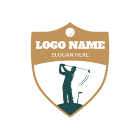 Yellow Badge and Golf Player logo design