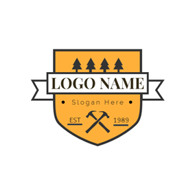 Yellow Badge and Wood logo design
