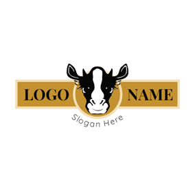 Yellow Banner and Black Cow Head logo design